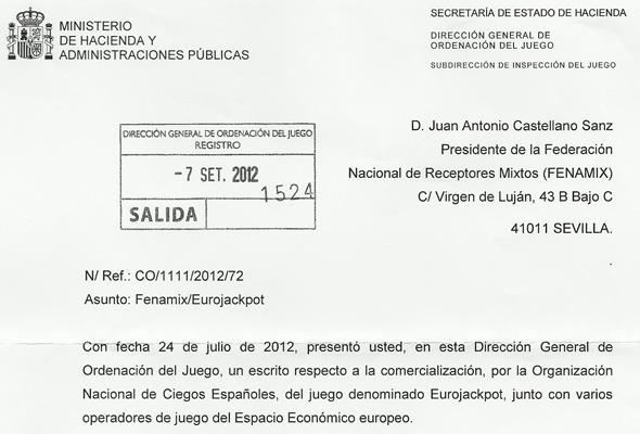 LA DIRECCIÓN GENERAL DE ORDENACIÓN DEL JUEGO TRASLADA LA DENUNCIA DE FENAMIX CONTRA LA ONCE Y LA UTE LOGISTA-GTECH AL CONSEJO DEL PROTECTORADO DE LA ONCE, POR PRESUNTA INFRACCIÓN EN LA COMERCIALIZACIÓN DE EUROJACKPOT.