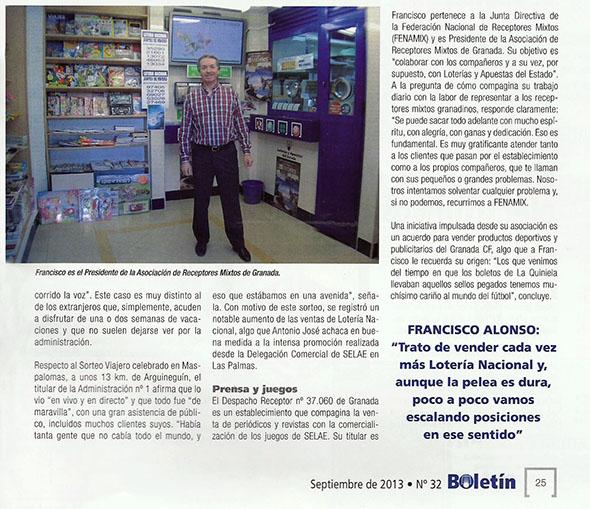 ENTREVISTA A FRANCISCO ALONSO, PRESIDENTE DE LA ASOCIACIÓN DE GRANADA EN EL BOLETÍN DE SELAE