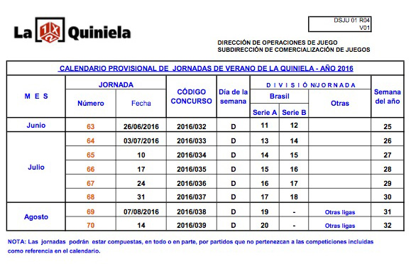 Calendario de Verano La Quiniela