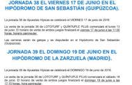 JORNADAS 38 Y 39 DE APUESTA HÍPICA