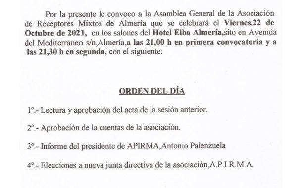 Convocatoria asamblea APIRMA